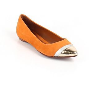 Schutz Flats Orange suede Leather metalic size 6B